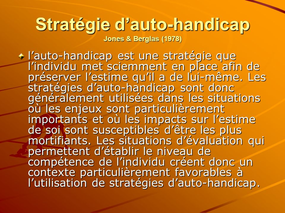 Stratégie d'auto-handicap Jones & Berglas (1978)