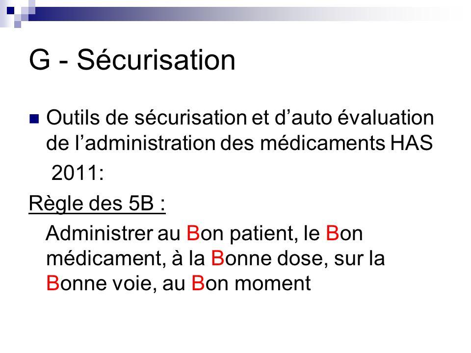 G - Sécurisation Outils de sécurisation et d'auto évaluation de l'administration des médicaments HAS.