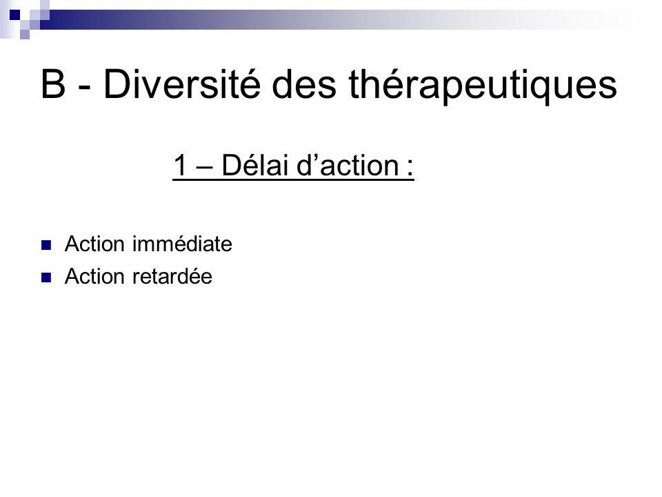 B - Diversité des thérapeutiques
