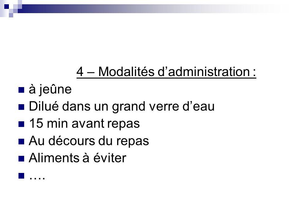 4 – Modalités d'administration :