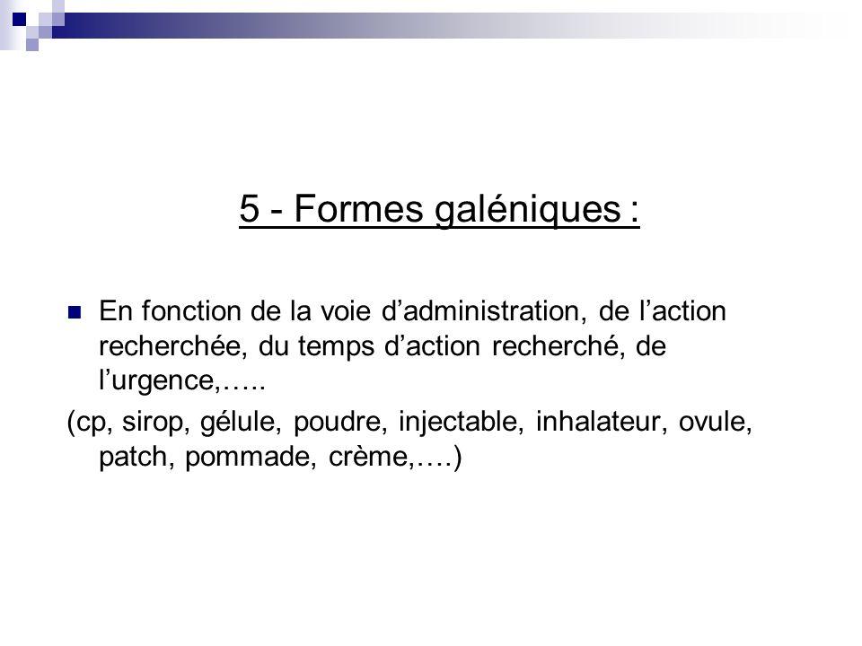 5 - Formes galéniques : En fonction de la voie d'administration, de l'action recherchée, du temps d'action recherché, de l'urgence,…..