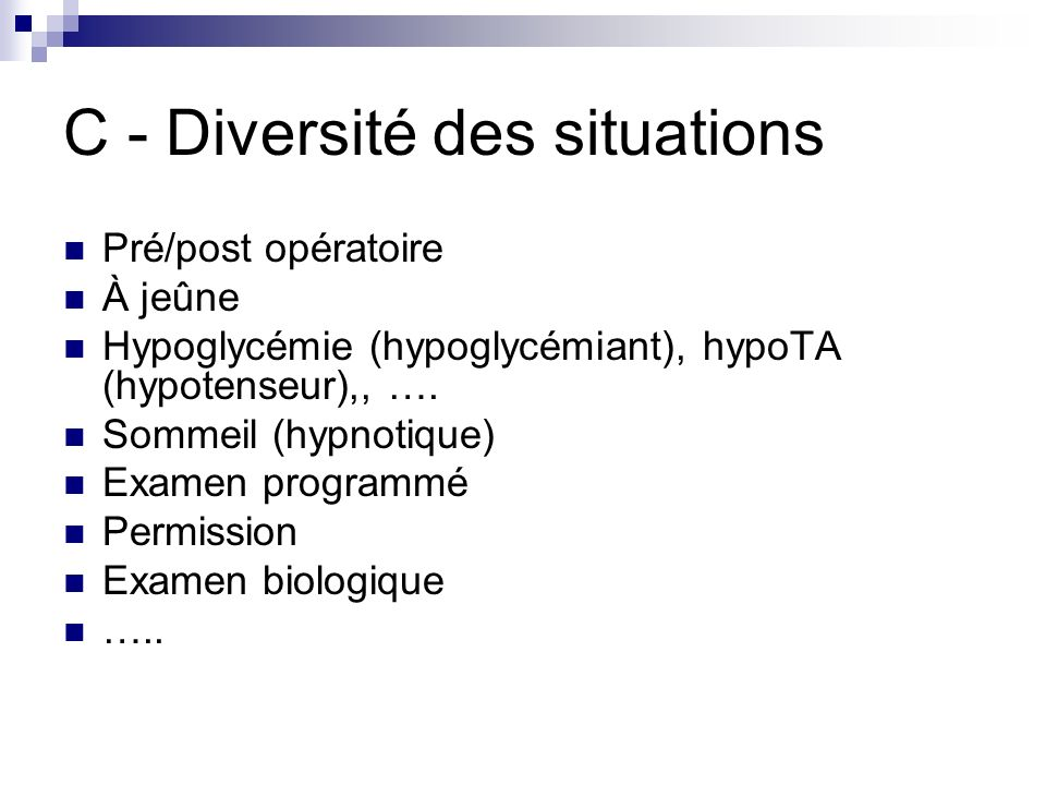 C - Diversité des situations