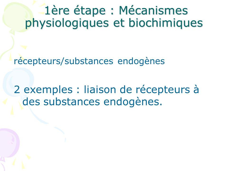 1ère étape : Mécanismes physiologiques et biochimiques