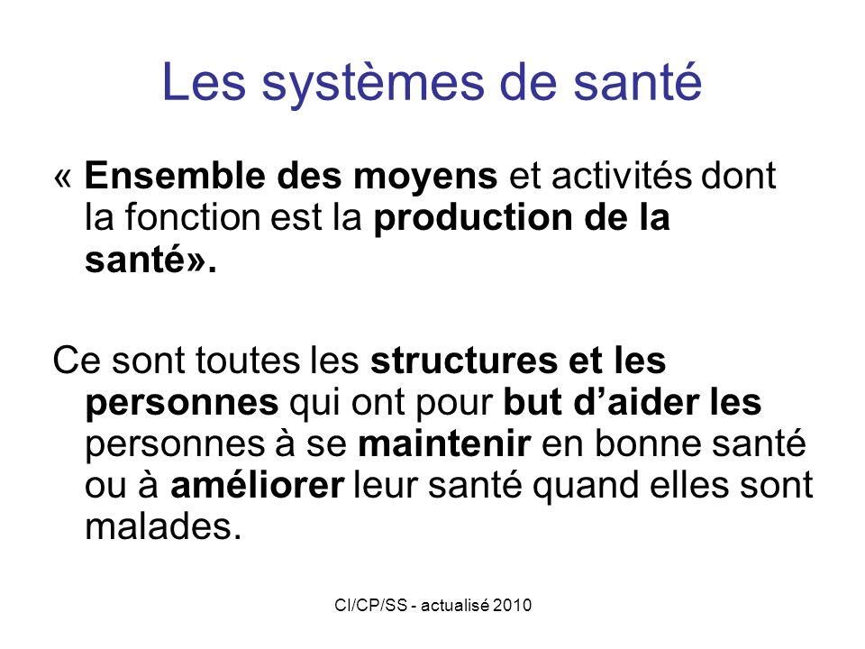 Les systèmes de santé « Ensemble des moyens et activités dont la fonction est la production de la santé».