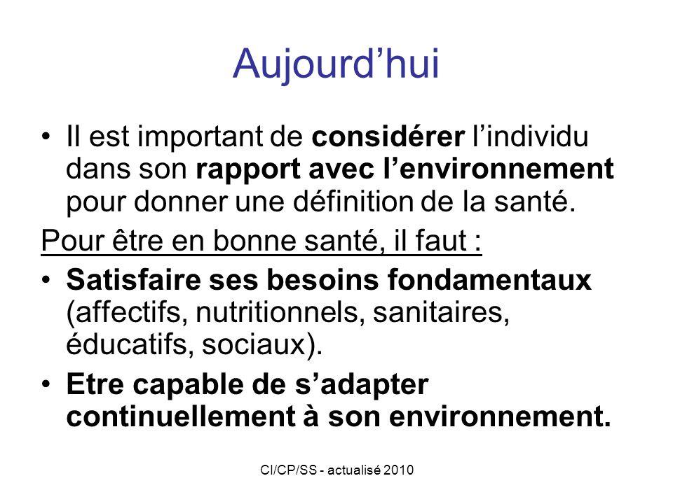 Aujourd'hui Il est important de considérer l'individu dans son rapport avec l'environnement pour donner une définition de la santé.