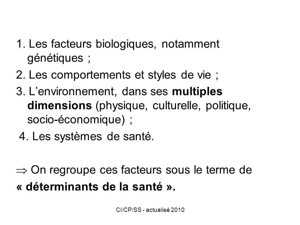 1. Les facteurs biologiques, notamment génétiques ;