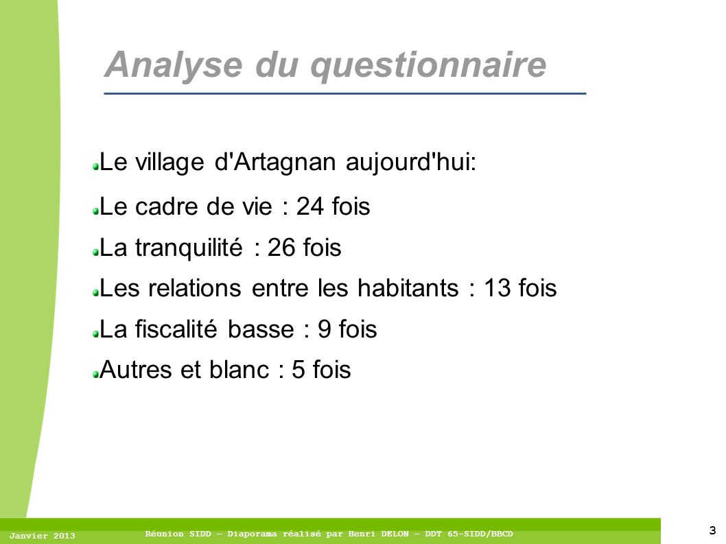 Analyse du questionnaire