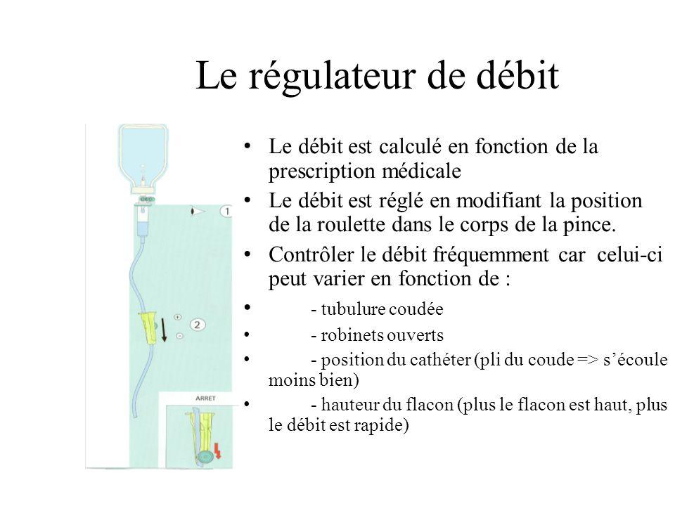 Le régulateur de débit Le débit est calculé en fonction de la prescription médicale.