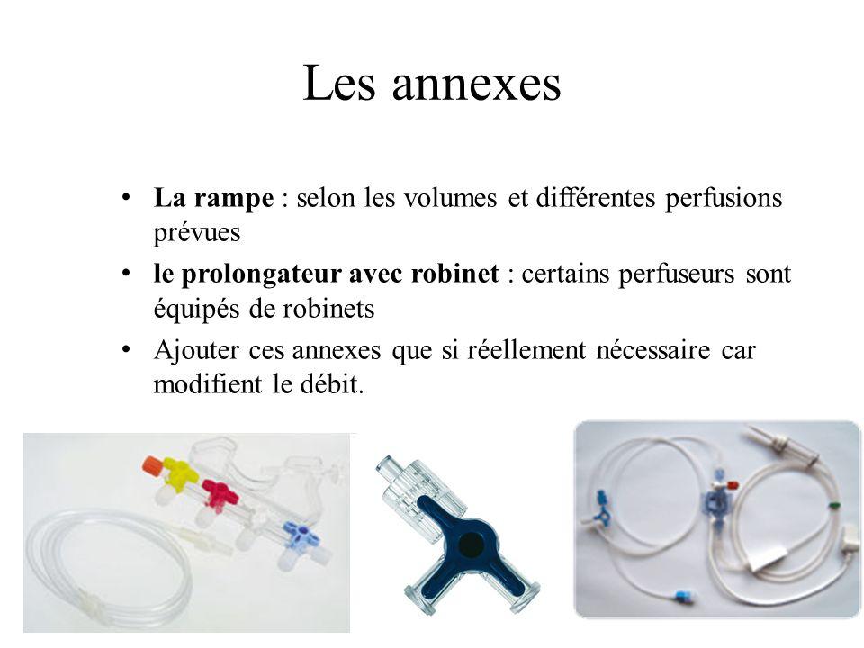 Les annexesLa rampe : selon les volumes et différentes perfusions prévues.