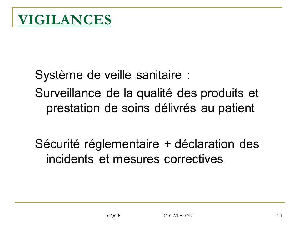 VIGILANCES Système de veille sanitaire :