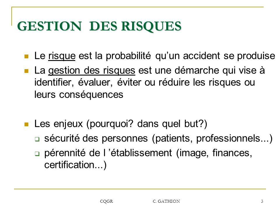 GESTION DES RISQUES Le risque est la probabilité qu'un accident se produise.