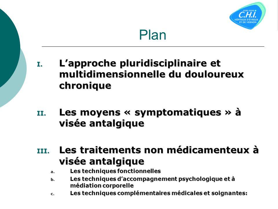 PlanL'approche pluridisciplinaire et multidimensionnelle du douloureux chronique. Les moyens « symptomatiques » à visée antalgique.