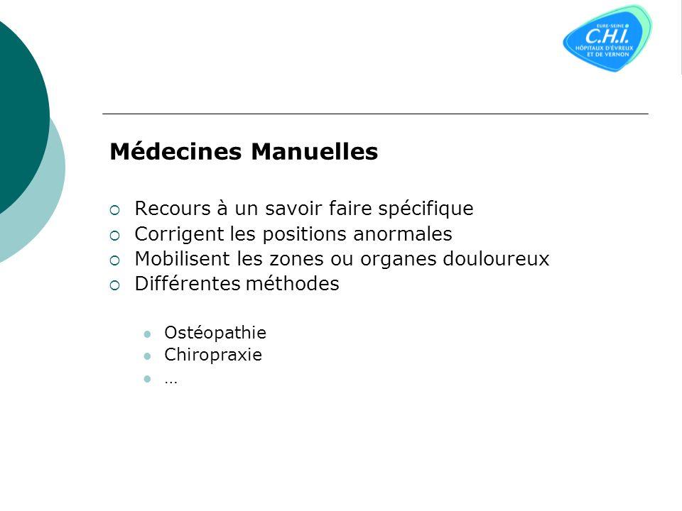 Médecines Manuelles Recours à un savoir faire spécifique