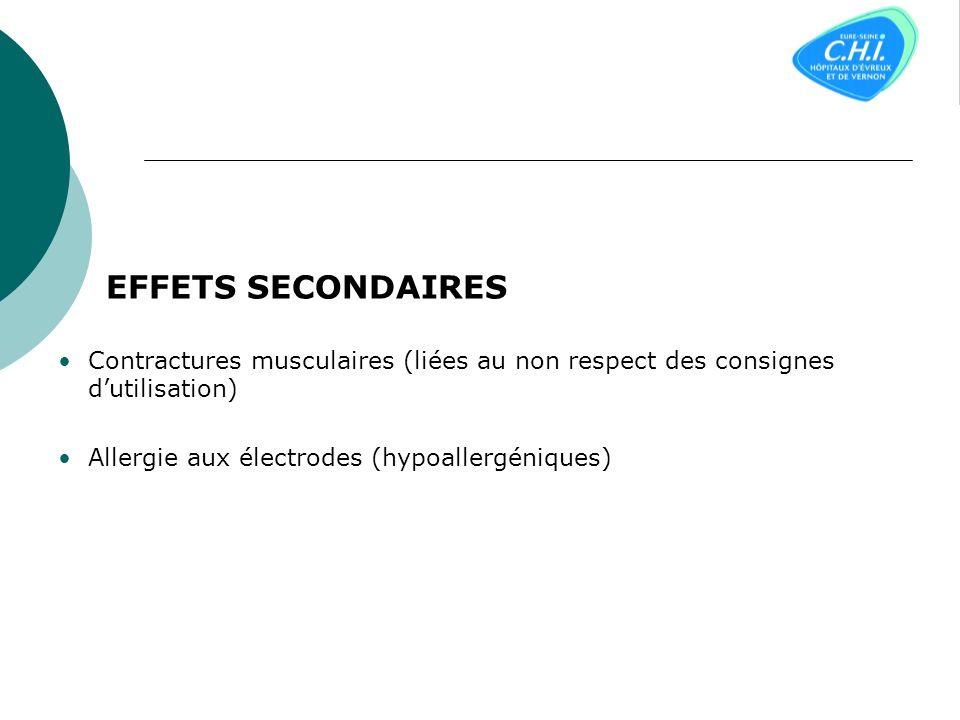 EFFETS SECONDAIRES Contractures musculaires (liées au non respect des consignes d'utilisation) Allergie aux électrodes (hypoallergéniques)