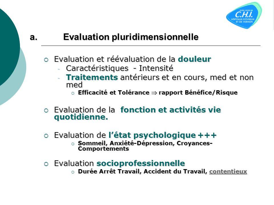 Evaluation pluridimensionnelle