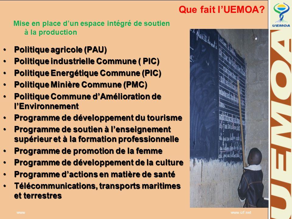 Que fait l'UEMOA Politique agricole (PAU)