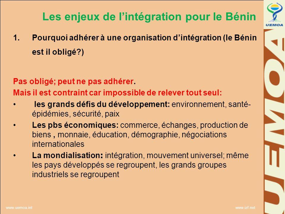 Les enjeux de l'intégration pour le Bénin
