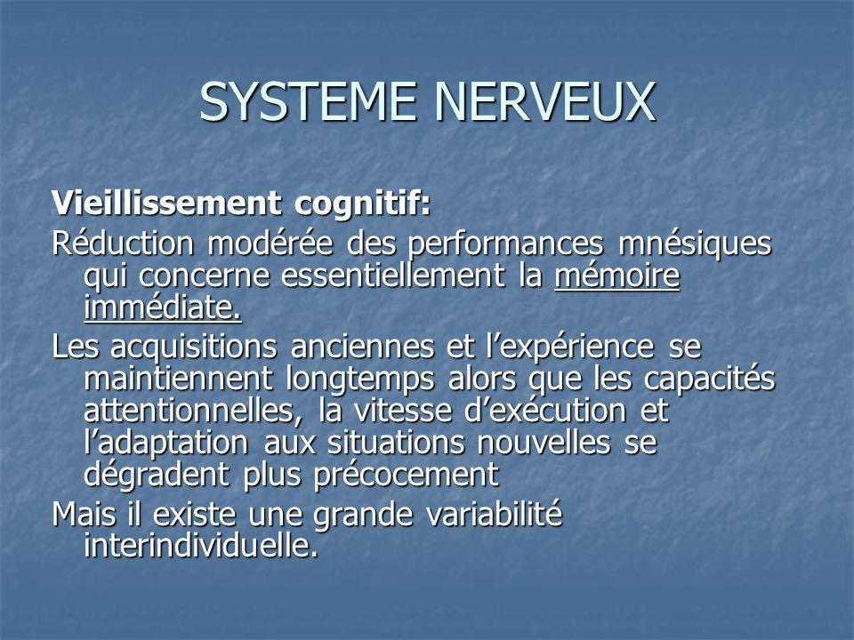 SYSTEME NERVEUX Vieillissement cognitif: