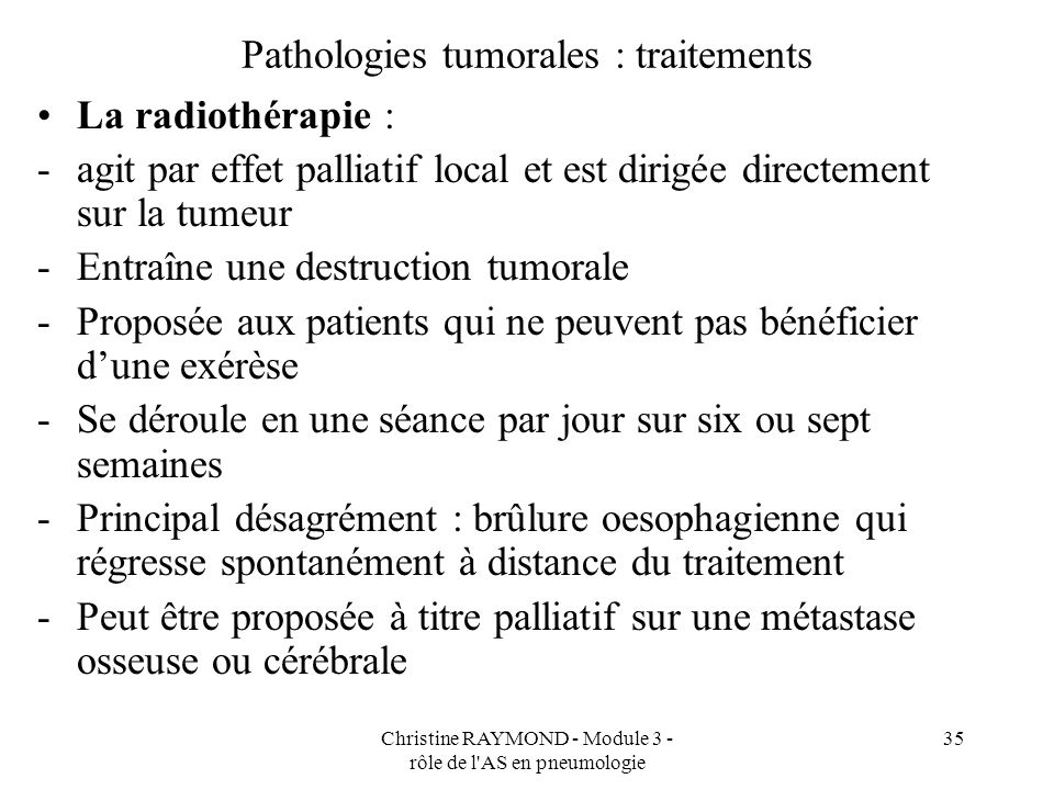 Pathologies tumorales : traitements