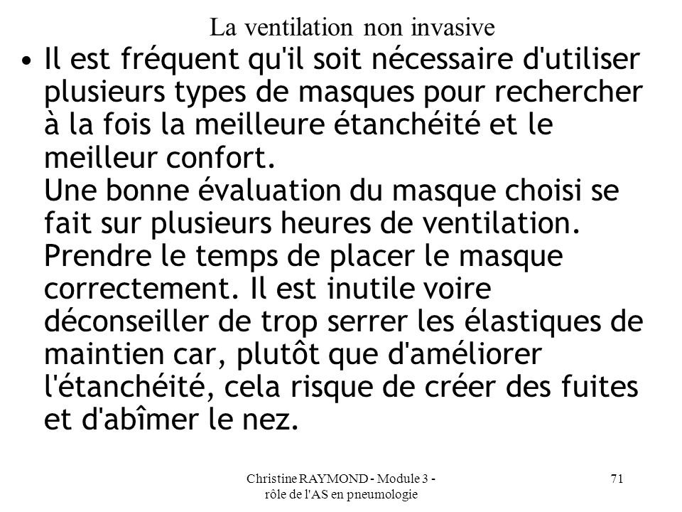 La ventilation non invasive