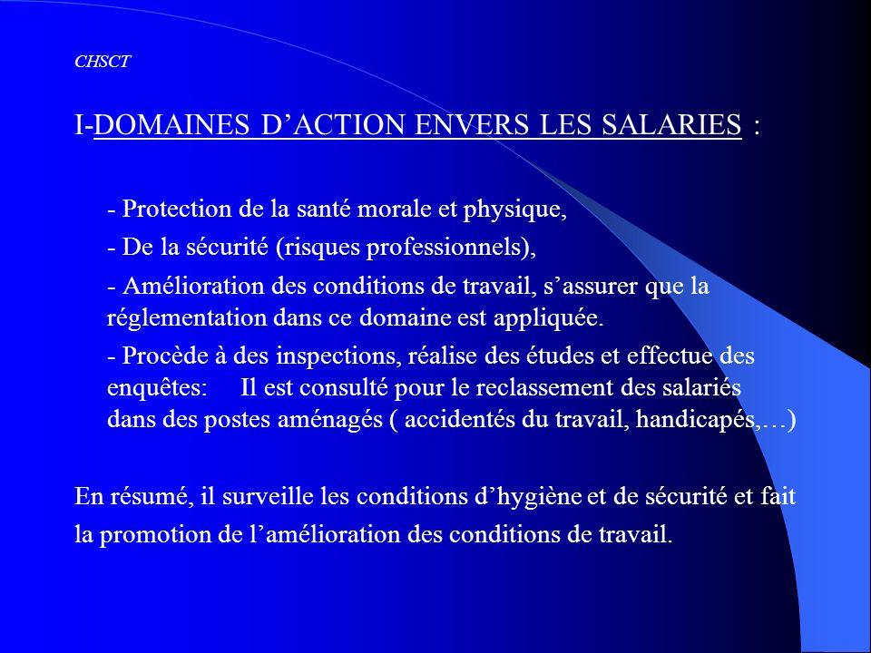 I-DOMAINES D'ACTION ENVERS LES SALARIES :