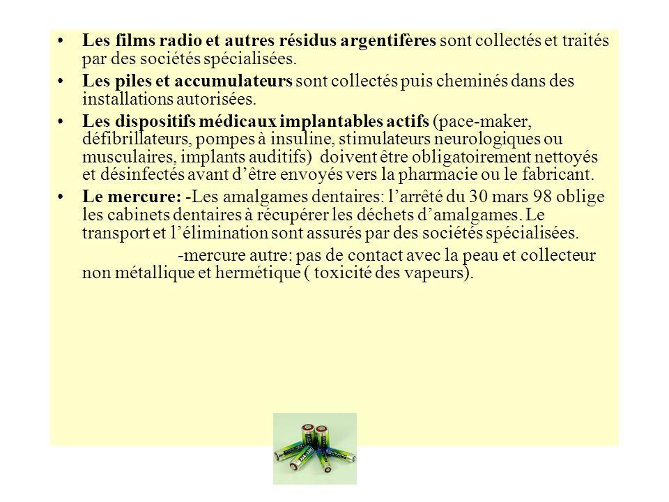 Les films radio et autres résidus argentifères sont collectés et traités par des sociétés spécialisées.
