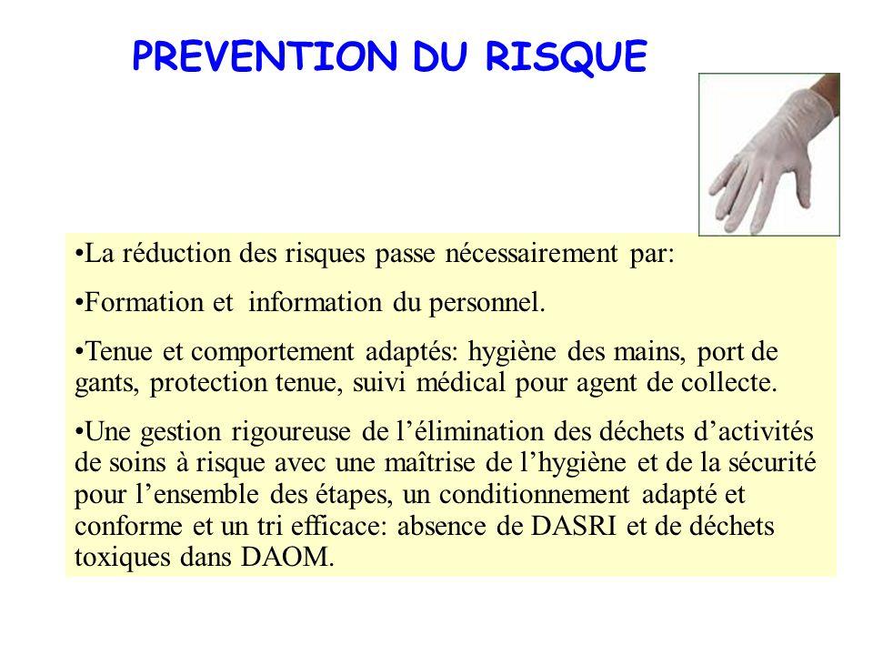 PREVENTION DU RISQUE La réduction des risques passe nécessairement par: Formation et information du personnel.