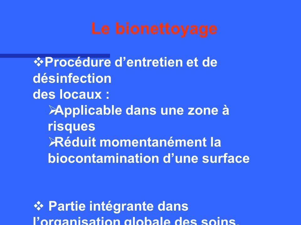 Le bionettoyage Procédure d'entretien et de désinfection des locaux :