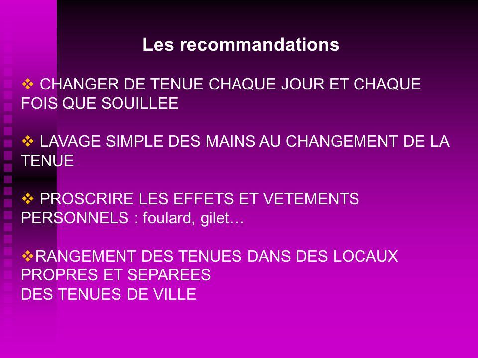 Les recommandations CHANGER DE TENUE CHAQUE JOUR ET CHAQUE FOIS QUE SOUILLEE. LAVAGE SIMPLE DES MAINS AU CHANGEMENT DE LA TENUE.