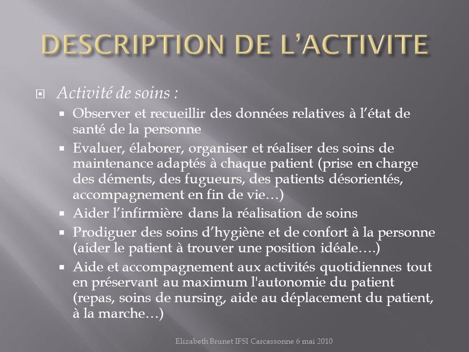 DESCRIPTION DE L'ACTIVITE