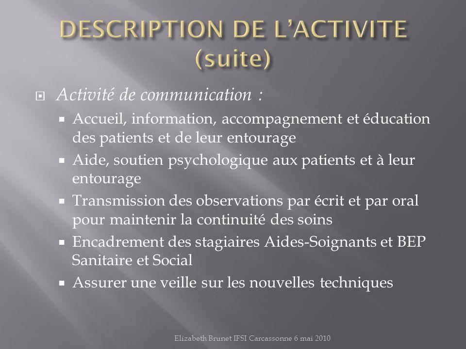 DESCRIPTION DE L'ACTIVITE (suite)