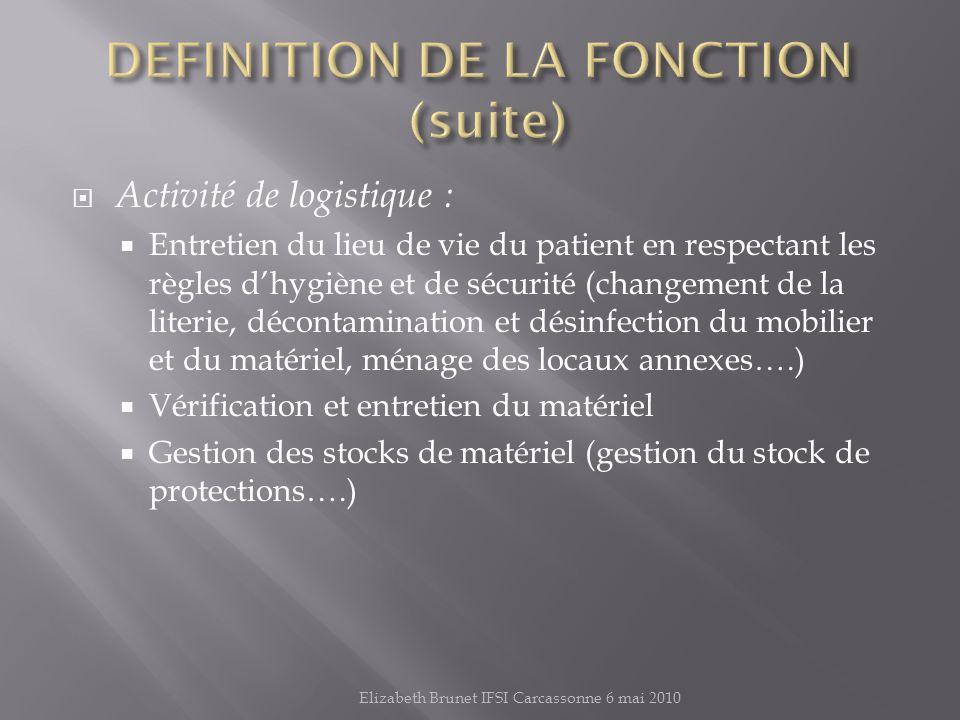 DEFINITION DE LA FONCTION (suite)