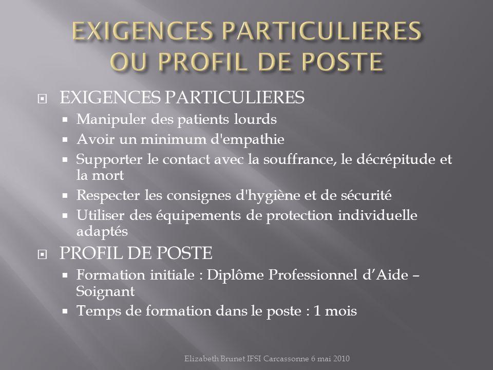 EXIGENCES PARTICULIERES OU PROFIL DE POSTE