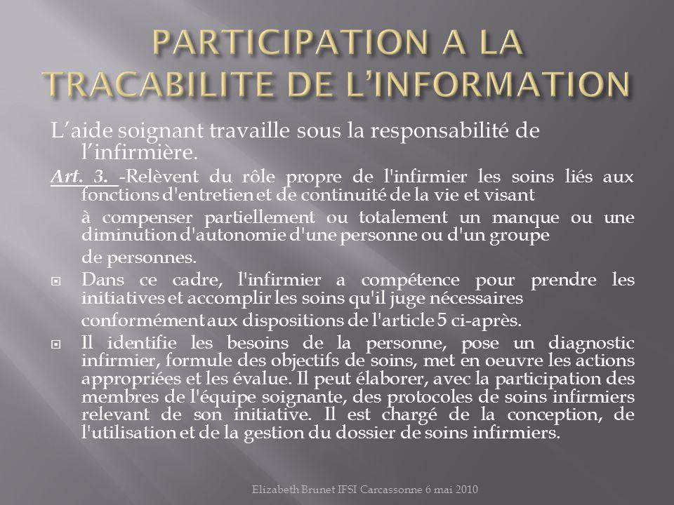 PARTICIPATION A LA TRACABILITE DE L'INFORMATION