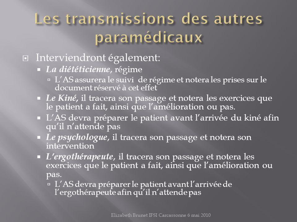 Les transmissions des autres paramédicaux