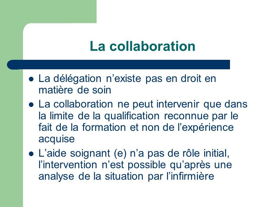 La collaboration La délégation n'existe pas en droit en matière de soin.