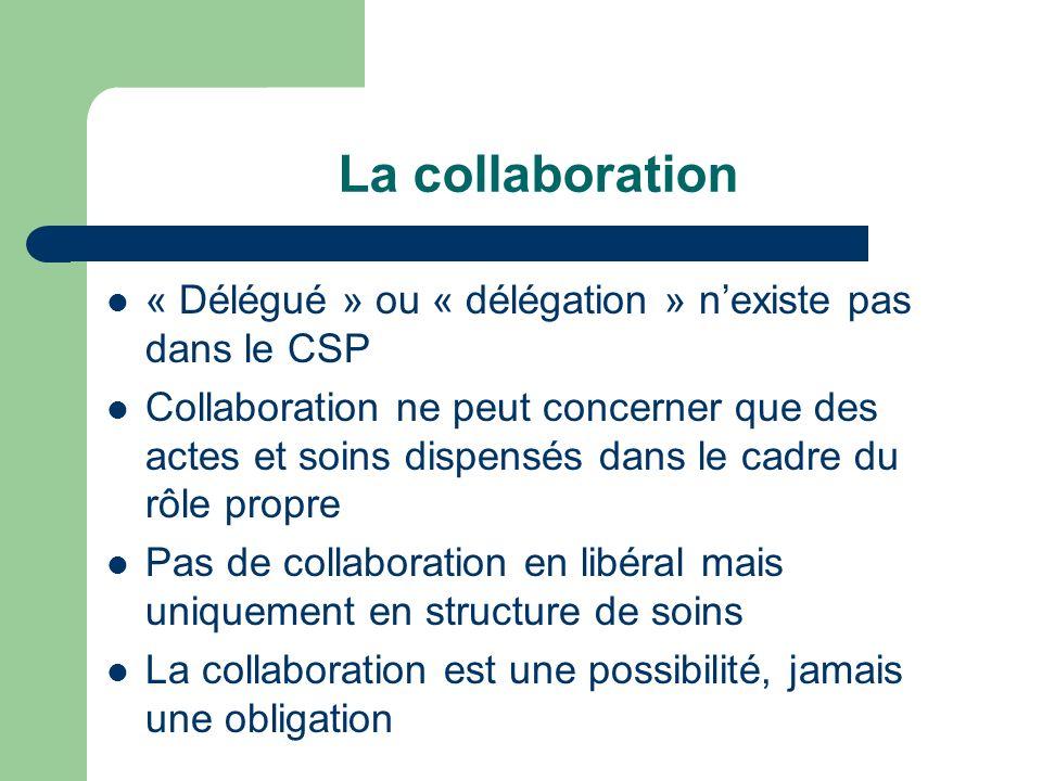 La collaboration « Délégué » ou « délégation » n'existe pas dans le CSP.