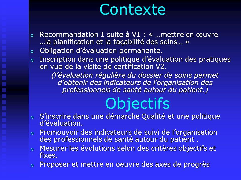 Contexte Recommandation 1 suite à V1 : « …mettre en œuvre …la planification et la taçabilité des soins… »