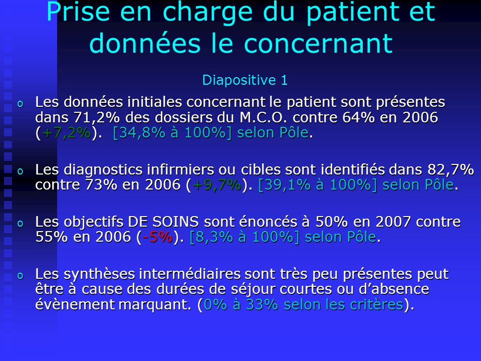 Prise en charge du patient et données le concernant Diapositive 1