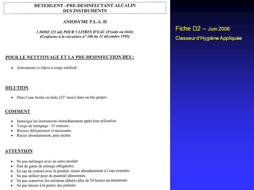 Fiche D2 – Juin 2006 Classeur d'Hygiène Appliquée