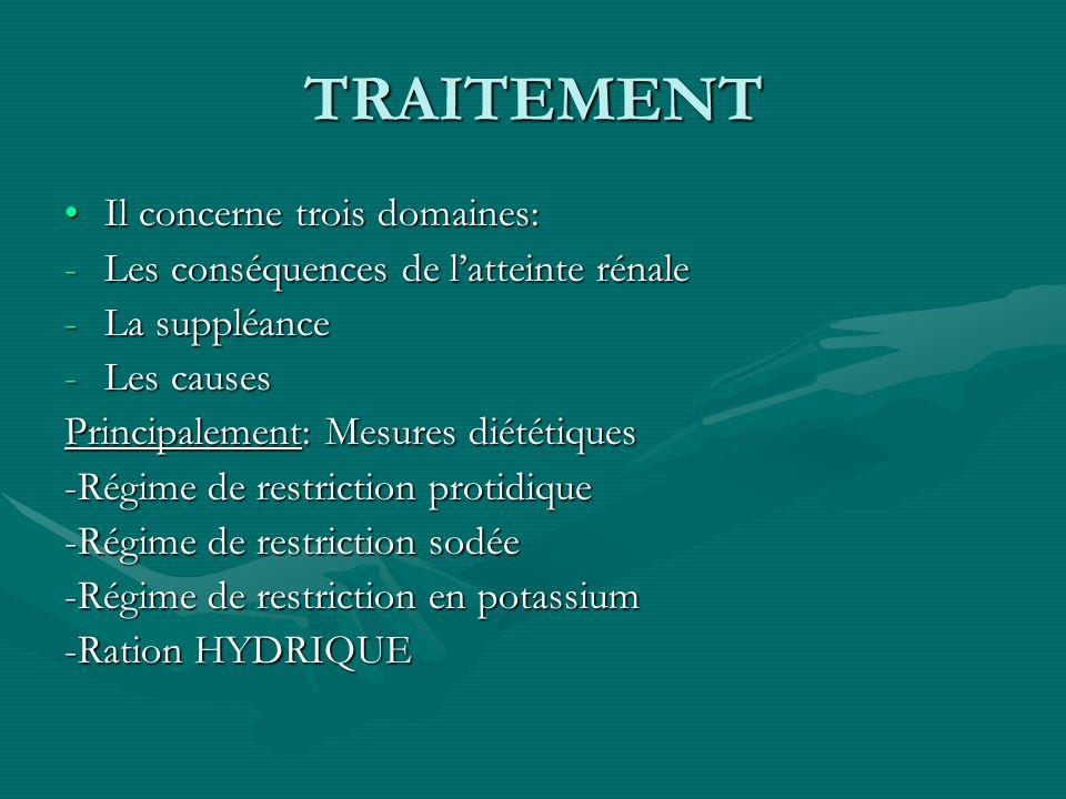 TRAITEMENT Il concerne trois domaines: