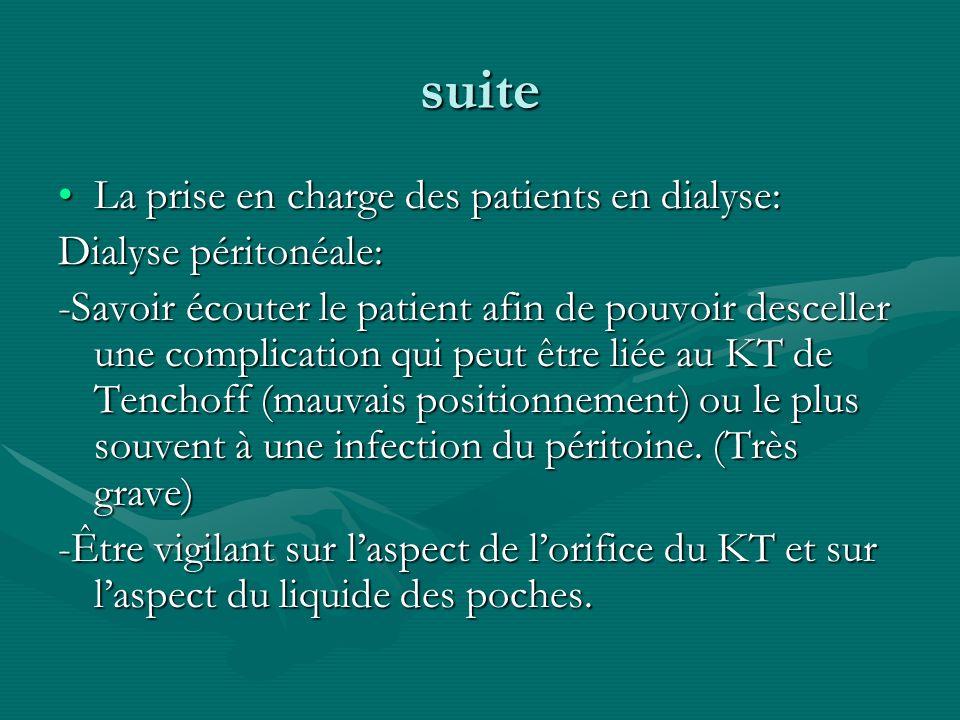 suite La prise en charge des patients en dialyse: Dialyse péritonéale: