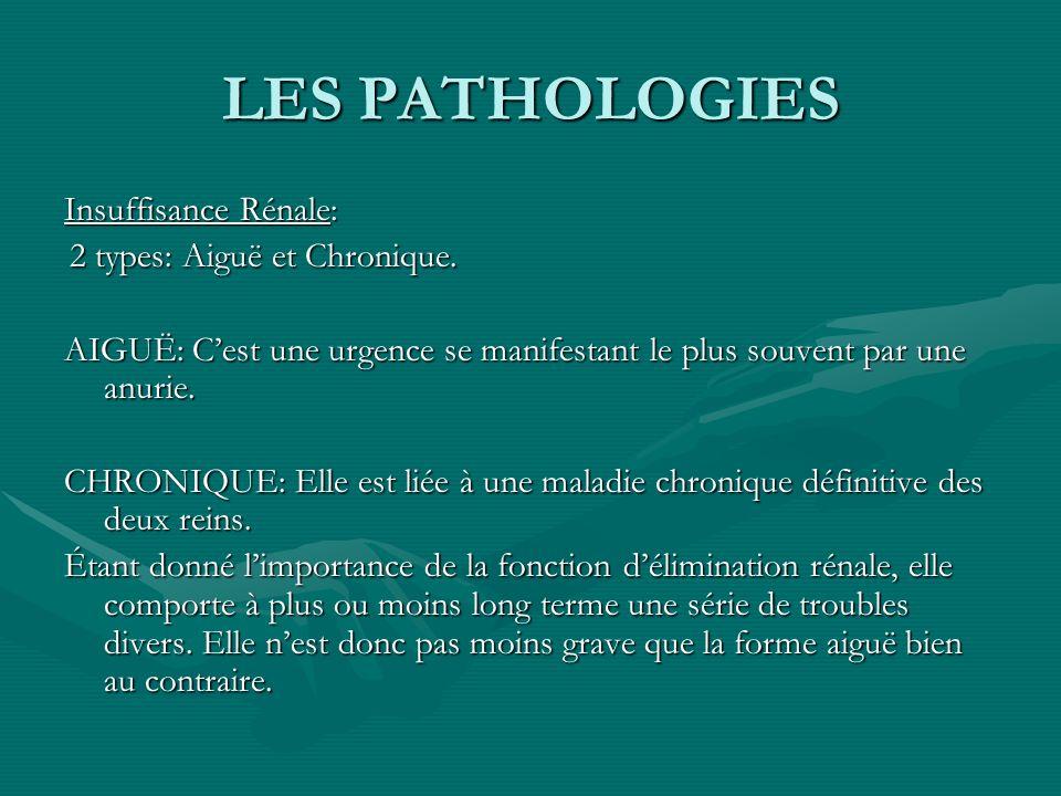 LES PATHOLOGIES Insuffisance Rénale: