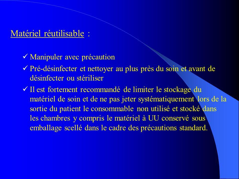 Matériel réutilisable :