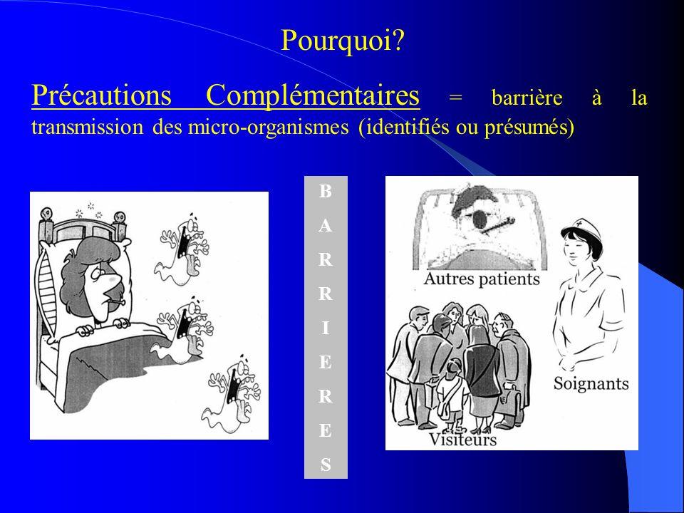 Pourquoi Précautions Complémentaires = barrière à la transmission des micro-organismes (identifiés ou présumés)