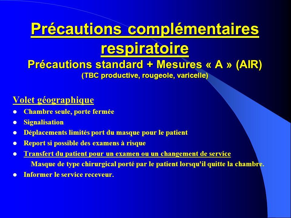 Précautions complémentaires respiratoire Précautions standard + Mesures « A » (AIR) (TBC productive, rougeole, varicelle)