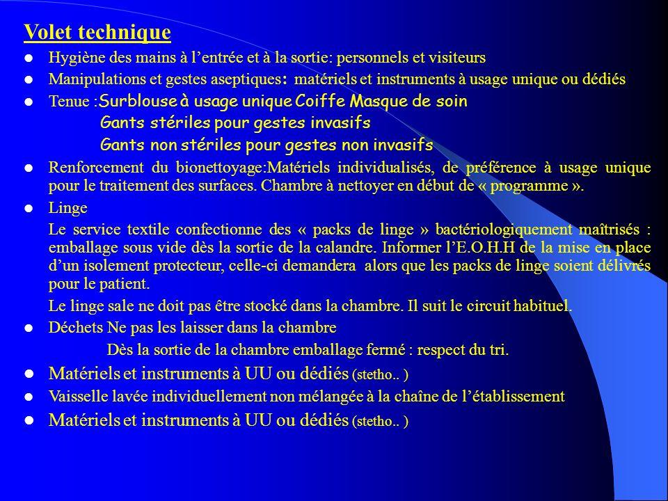 Volet technique Matériels et instruments à UU ou dédiés (stetho.. )