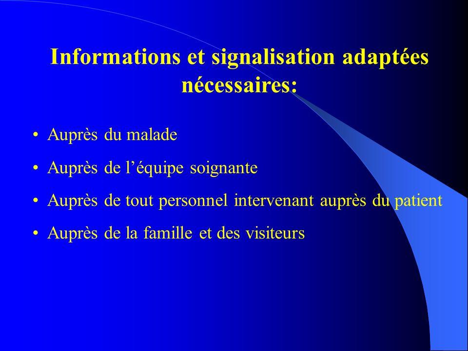 Informations et signalisation adaptées nécessaires: