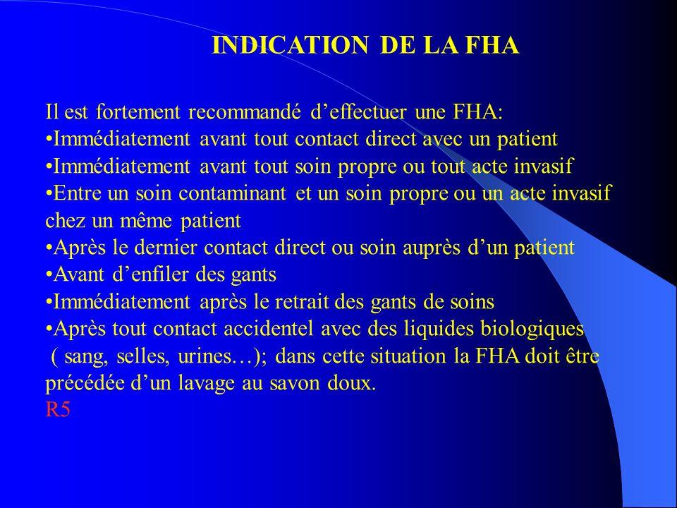 INDICATION DE LA FHA Il est fortement recommandé d'effectuer une FHA:
