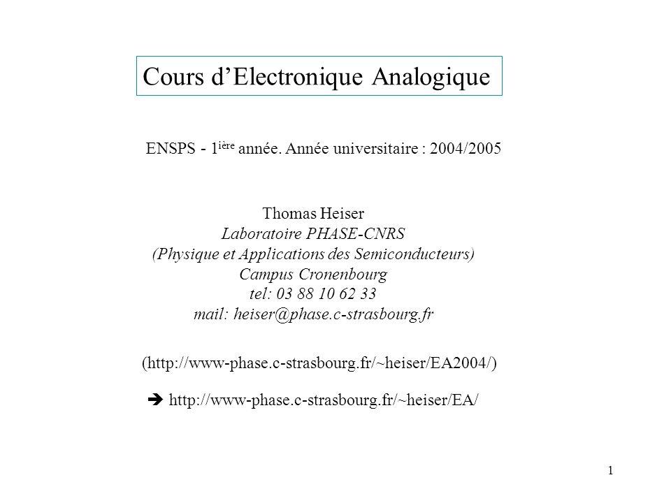 Cours d'Electronique Analogique